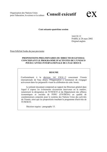 Propositions Prliminaires Du Directeur Gnral Concernant Le