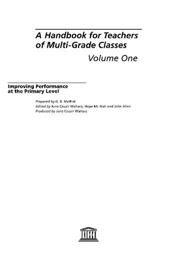 A Handbook for teachers of multi-grade classes: improving