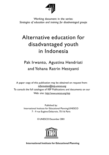 Alternative Education For Disadvantaged Youth In Indonesia Unesco Digital Library