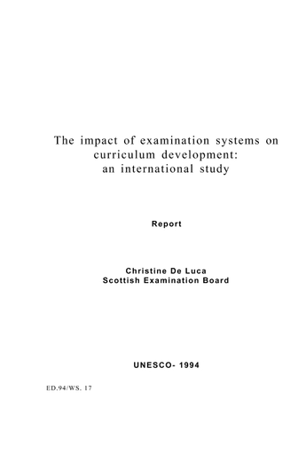 The Impact of examination systems on curriculum development
