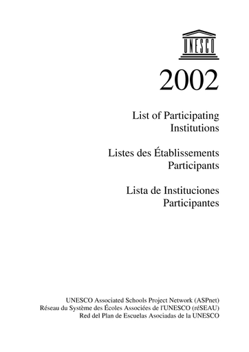UNESCO Associated Schools Project Network (ASPnet): list of participating  institutions; 50 years: 1953-2003 - UNESCO Digital Library