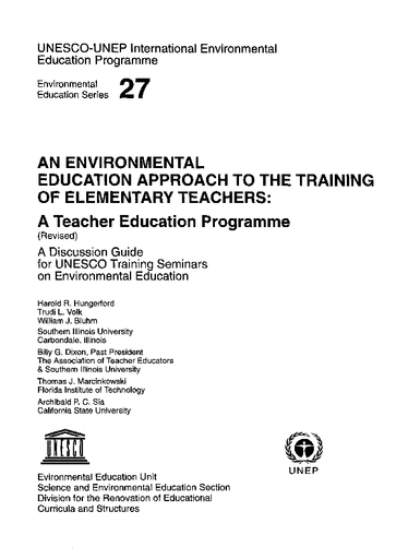 An Environmental education approach to the training of