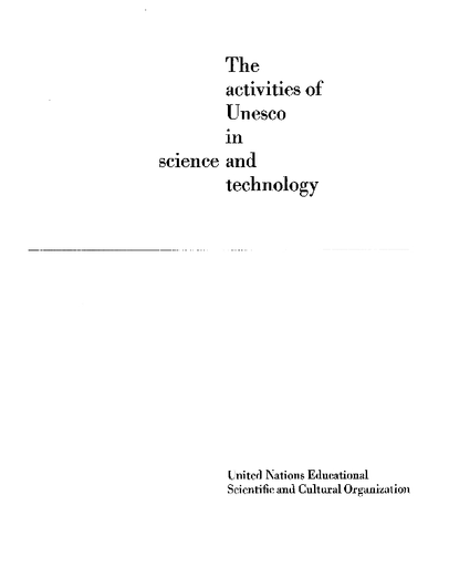 The Activities Of Unesco In Science And Technology Unesco