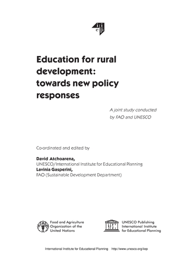 Education for rural development: towards new policy