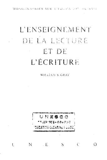 L Enseignement De La Lecture Et De L Ecriture Etude Generale Unesco Digital Library