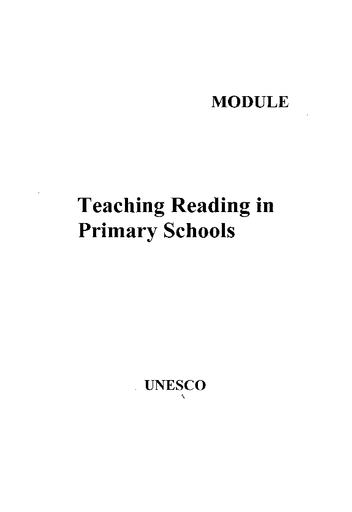 Teaching Reading In Primary Schools Unesco Digital Library