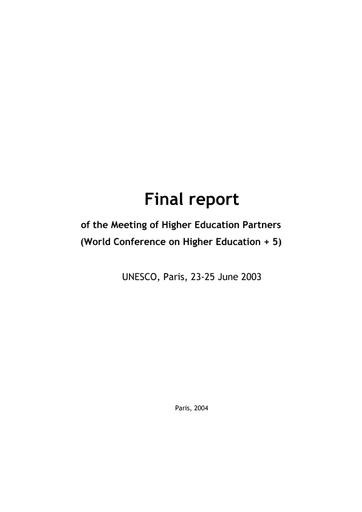 Final Report Of The Meeting Of Higher Education Partners