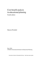Cost Benefit Analysis In Educational Planning Unesco Digital Library