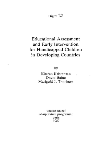 Educational assessment and early intervention for