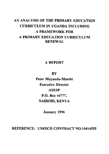 An Analysis of the primary education curriculum in Uganda