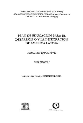 Plan De Educacion Para El Desarrollo Y La Integracion De America Latina Unesco Digital Library