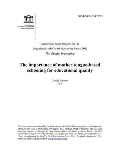 The Importance of mother tongue-based schooling for