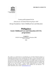 Philippines Early Childhood Care And Education Ecce Programmes