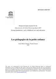 Les Pédagogies De La Petite Enfance Unesco Digital Library