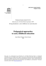 Pedagogical Approaches To Early Childhood Education Unesco