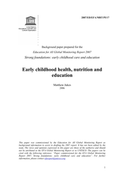 Early childhood health, nutrition and education - UNESCO Digital Library