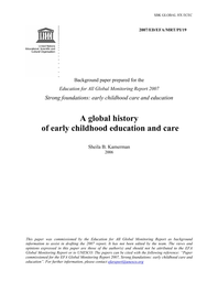 A Global History Of Early Childhood Education And Care Unesco Digital Library