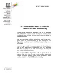 60 themes and 60 weeks to celebrate UNESCO Sixtieth
