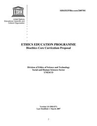 Ethics education programme: bioethics core curriculum