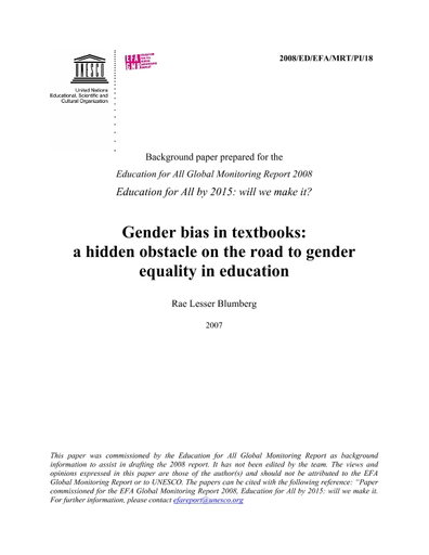 Gender bias in textbooks: a hidden obstacle on the road to