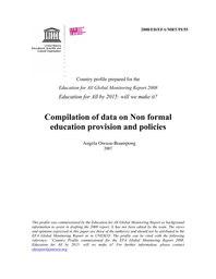 Compilation of data on non formal education provision and