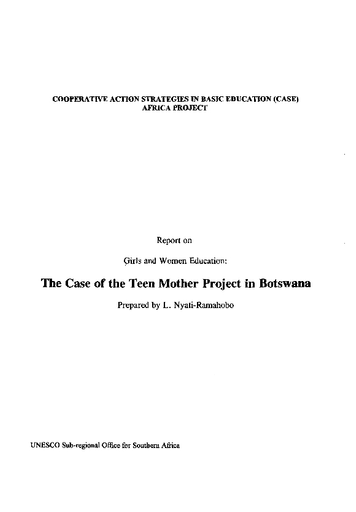Report on girls and women education: the case of the Teen Mother Project in  Botswana - UNESCO Digital Library