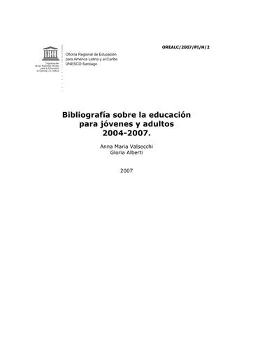Bibliografía sobre la educación para jóvenes y adultos 2004-2007 - UNESCO  Digital Library