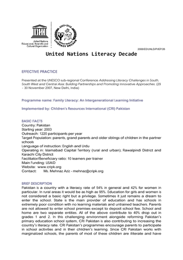 United Nations Literacy Decade: effective practice