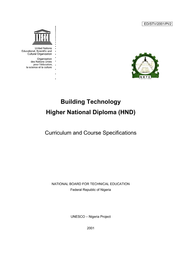 Building Technology Higher National Diploma Hnd Curriculum And