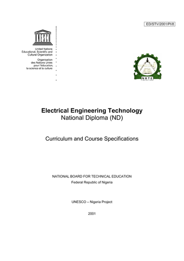 Electrical Engineering Technology National Diploma Nd Curriculum And Course Specifications Unesco Digital Library