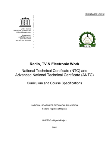Radio Tv Electronic Work National Technical Certificate Ntc And Advanced National Technical Certificate Antc Curriculum And Course Specifications Unesco Digital Library