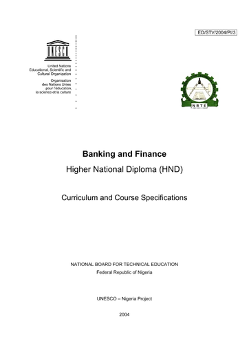 Banking and finance, Higher National Diploma (HND