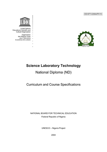 Science laboratory technology, National Diploma (ND