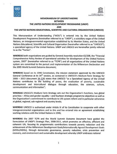 Memorandum Of Understanding Between The United Nations Development
