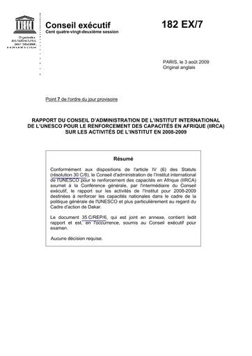 Rapport Du Conseil D Administration De L Institut