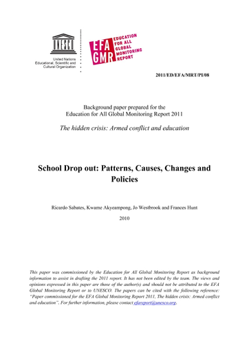 School drop out: patterns, causes, changes and policies - UNESCO