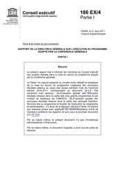 Rapport De La Directrice Generale Sur L Execution Du Programme