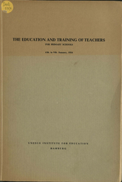 The Education and training of teachers for primary schools