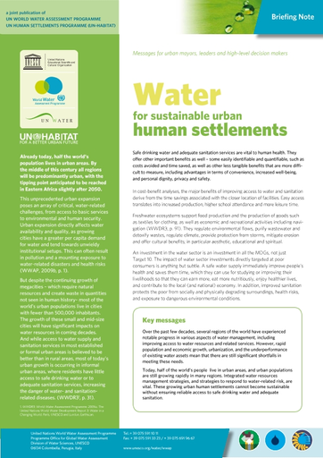 Water for sustainable urban human settlements - UNESCO