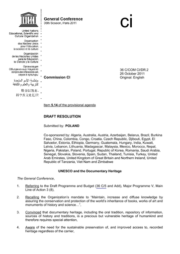 Draft resolution submitted by Poland: UNESCO and the