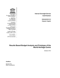 Results Based Budget Analysis And Prototype Of The World Heritage