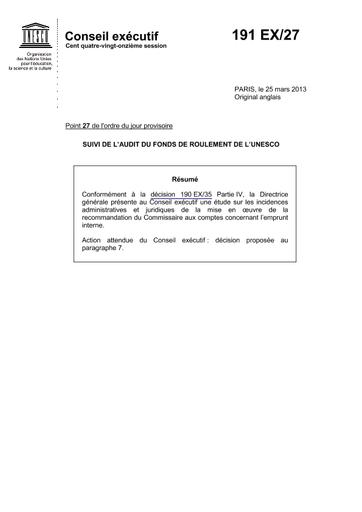 Suivi De L Audit Du Fonds De Roulement De L Unesco Unesco