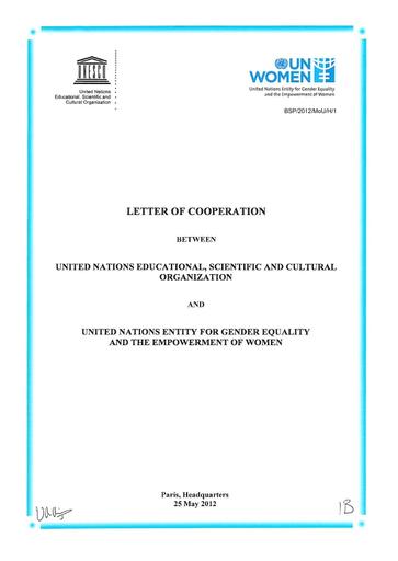 Letter of cooperation between UNESCO and UN Women - UNESCO