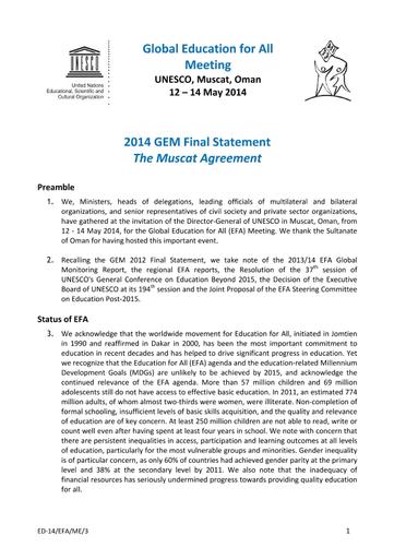 2014 Gem Final Statement The Muscat Agreement Unesco Digital Library