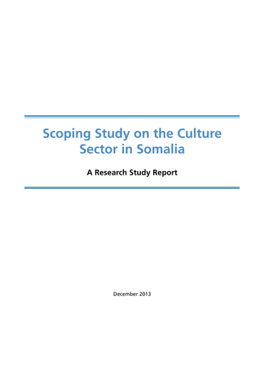 Scoping study on the culture sector in Somalia: a research