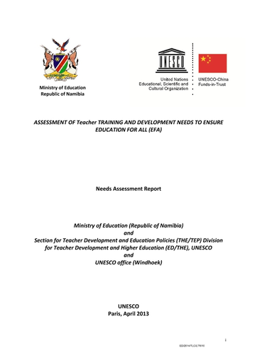 Assessment Of Teacher Training And Development Needs To Ensure Education For All Efa Needs Assessment Report Unesco Digital Library