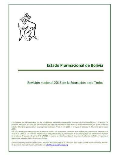 Educación Para Todos Bolivia Revisión Nacional De La Ept