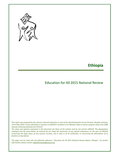 National EFA 2015 review report (Ethopia) - UNESCO Digital