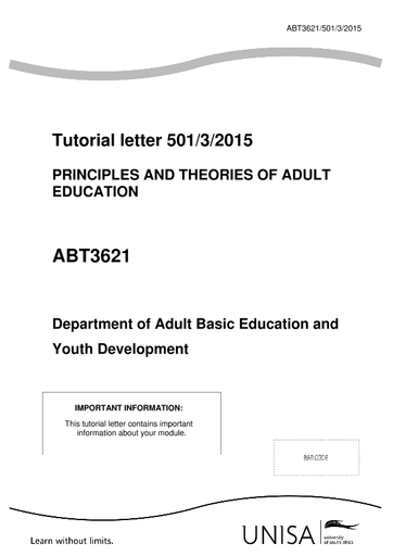Principles and theories of adult education - UNESCO Digital
