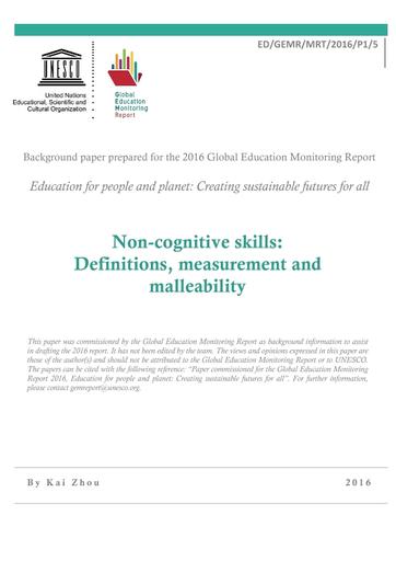 Non-cognitive skills: definitions, measurement and malleability - UNESCO  Digital Library